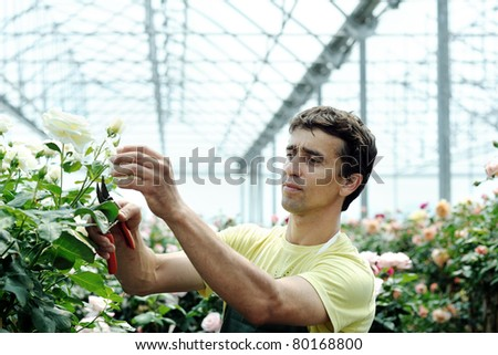 An image of a young worker in a rosary - stock photo