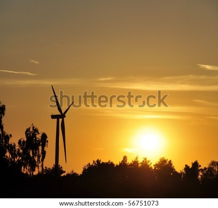an image of amazing wind turbine with beautiful sky - stock photo