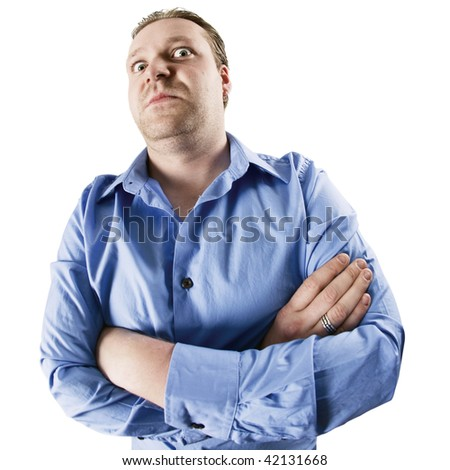 An image of an angry man starring down at you.  Could be a boss, manager, or just a stubborn man with a big ego.  Shot with fish-eye lens and harsh contrast applied. - stock photo