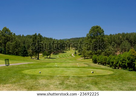 An image of  an Arizona golf course on a bright summer day - stock photo