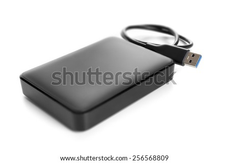 An image of an external hard drive isolated - stock photo