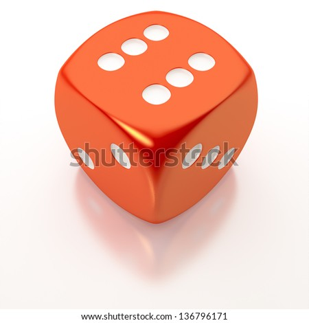An image of an isolated red dice - stock photo