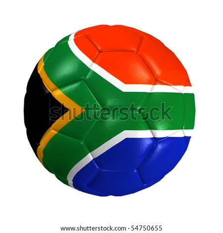 An image of an isolated soccer ball with the south africa flag - stock photo