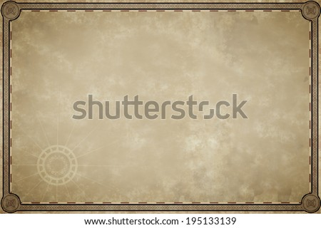 An image of an old map parchment blank - stock photo