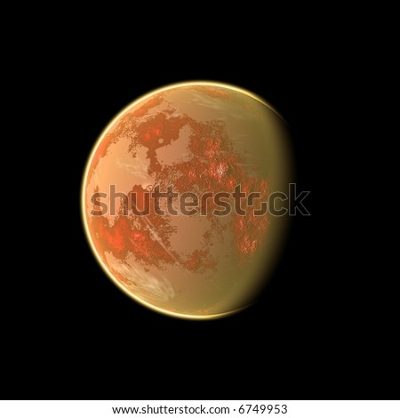 an image of an orange planet in the space
