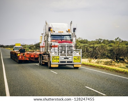 An image of an oversize road truck in Australia - stock photo
