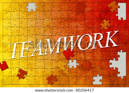 An image of an unfinished teamwork puzzle - stock photo