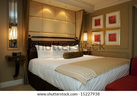 An image of an upscale hotel room