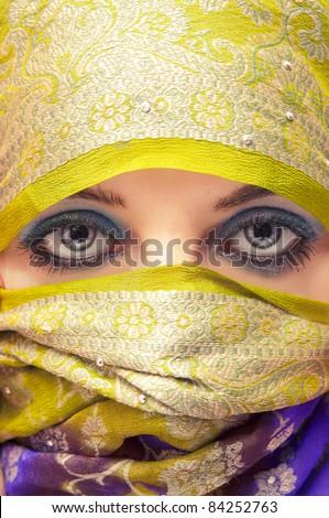 An image of arabian hidden face - stock photo