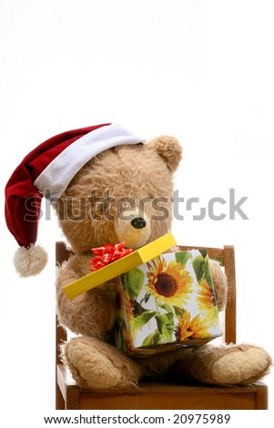 An image of bear toy with gift