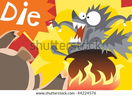 An image of big bad wolf in a pot that is on the fire while the little pig is urging the wolf to die - stock photo