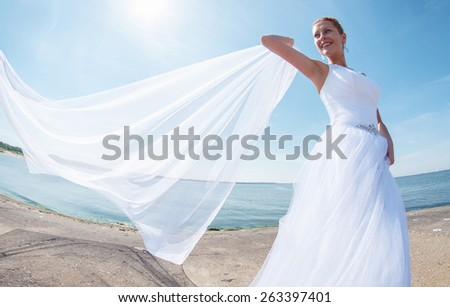 an image of bride on the beach