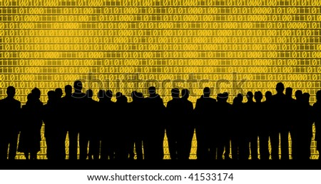 an image of business people on binary code background