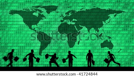 an image of business people on binary code background - stock photo