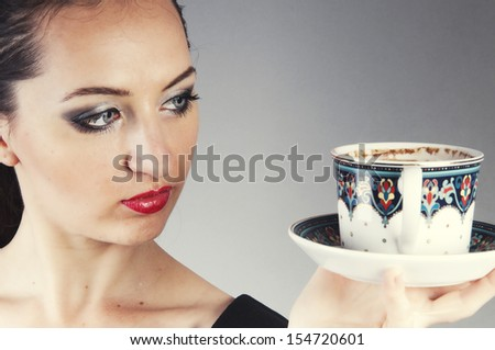 an image of businesswoman drink coffee - stock photo