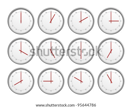 An image of 12 clocks with different time - stock photo