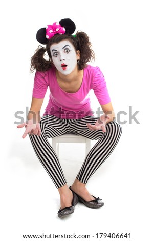 An image of clown shooting in studio - stock photo