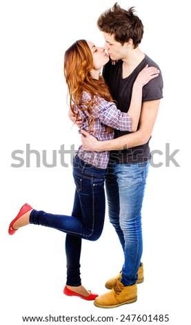 an image of couple in love on white background