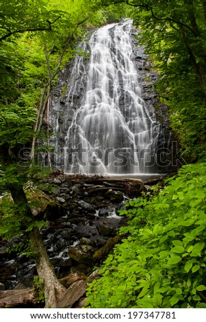 An image of Crabtree Falls located along the Blueridge Parkway in North Carolina - stock photo