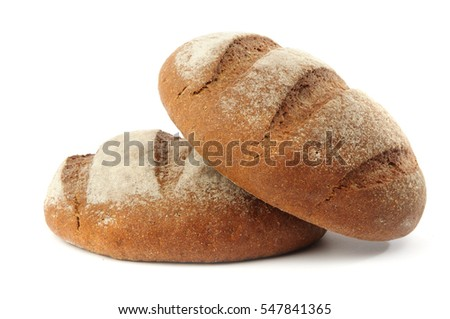 An image of dark bread on white background