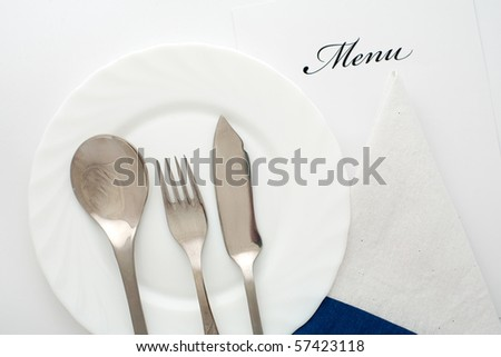 An image of fork, spoon and knife on the plate