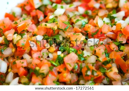 An image of fresh vibrant pico de gallo - stock photo