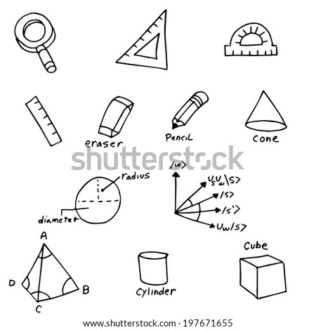 An image of geometry symbols. - stock photo
