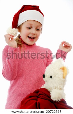 An image of happy child in red hat
