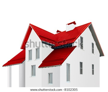 An image of house with red roof