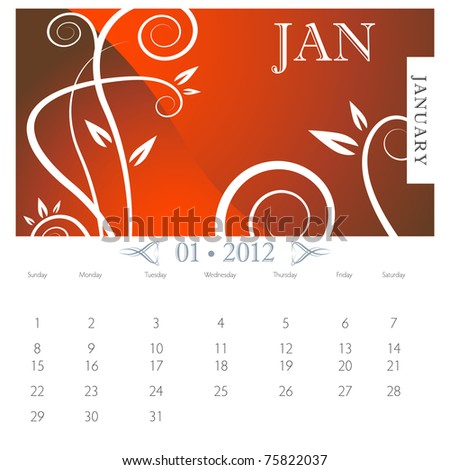 An image of January month victorian calendar page. - stock photo