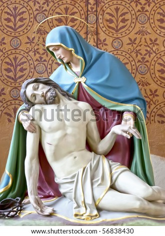 An image of Jesus with his mother - stock photo