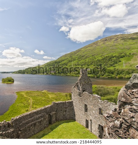 An image of Loch Awe as viewed from Kilchurn Castle, a ruined 15th century structure on the banks of Loch Awe, in Argyll and Bute, Scotland.