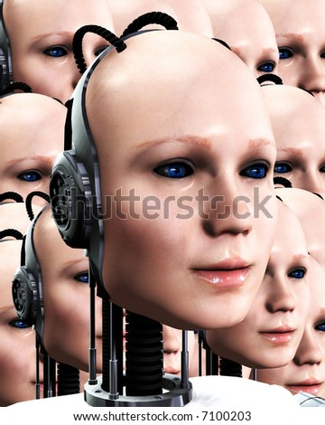 An image of lots of heads of technologically robotic women who have been duplicated, it would make a interesting background. - stock photo