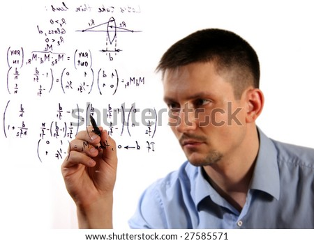 An image of man with pen in hand. Write formule