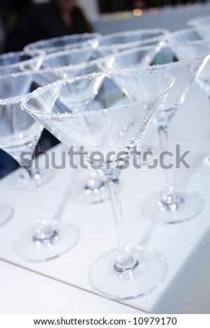 an image of martini salt rim glasses empty - stock photo