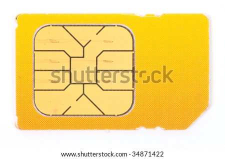 an image of mobile sim card on white - stock photo