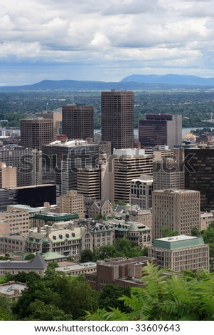 An image of Montreal, Quebec, taken from Mont Royal. - stock photo