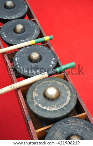 An image of music instrument Gong from Sabah Borneo, Malaysia. Its widely used by Kadazandusun, Murut and Bajau people in their traditional musical.  - stock photo