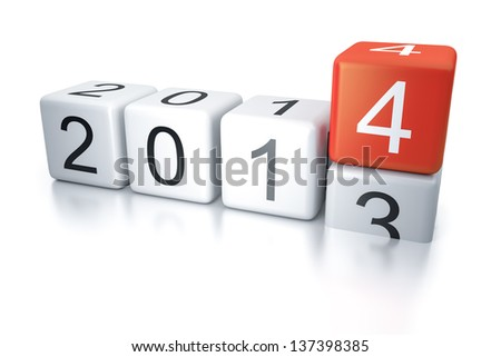 An image of new years eve dice 2014 - stock photo