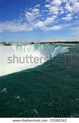 An image of Niagara Falls from the Canadian side. - stock photo