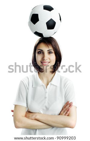 An image of of nice woman with soccer ball - stock photo