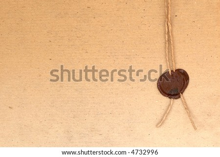 An image of old paper with stamp - stock photo