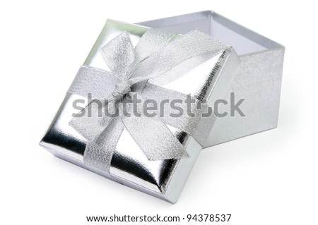 An image of open silver gift box on white background - stock photo