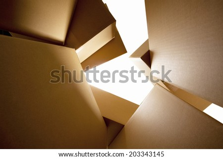 An Image of Piled Up Cardboard - stock photo