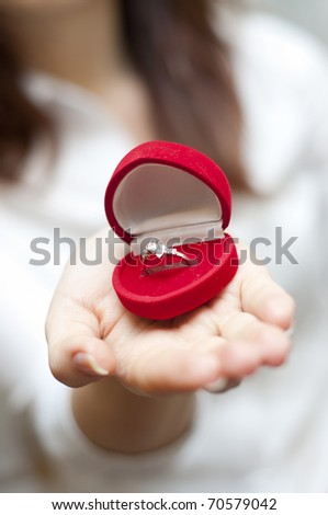 an image of red box with engagement ring inside