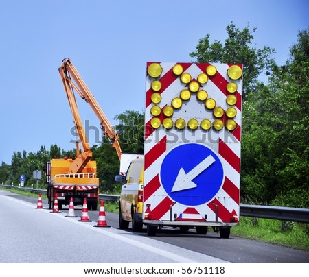 an image of roadworks - stock photo