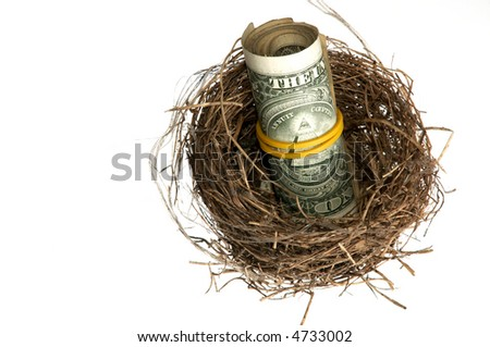 An image of roll of dollars in nest