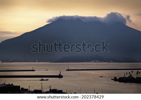 An Image of Sakurajima Of Dusk