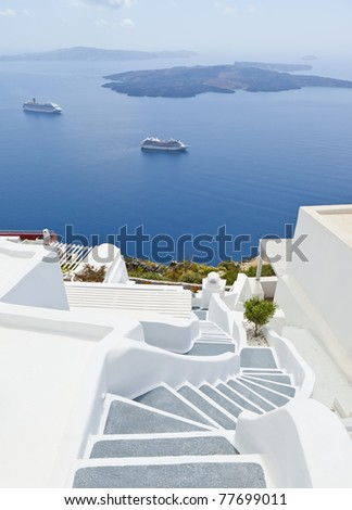 An image of Santorini island of Greece - stock photo