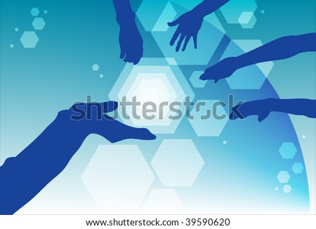 An image of silhouettes of hands coming together - stock photo